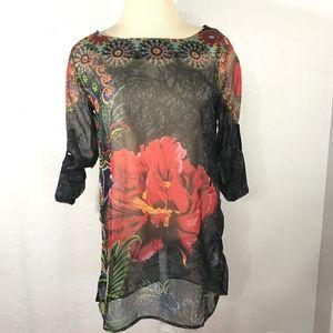 Desigual Tops - Desigual | Hannette Multicolored Sheer Floral Top